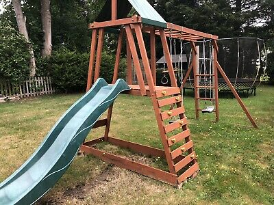 Wooden Swing And Slide Set With Monkey Bars, Rings And Fort • 92£