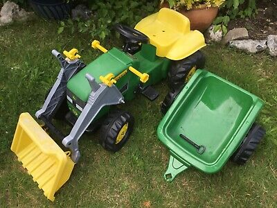 John Deere Kids Garden Ride On Pedal Tractor Digger & Trailer, Rolly Toy Age 2-5 • 53£