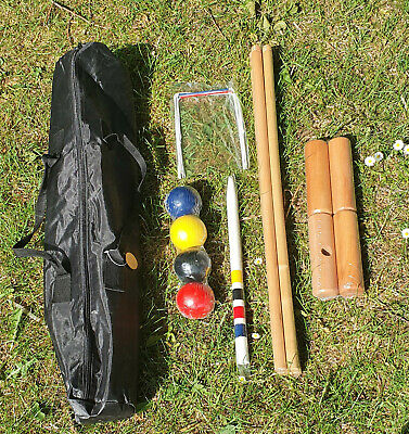 4 Player Wooden Croquet Set Travel Bag Outdoor Family Fun Garden Park Kids Adult • 24.99£