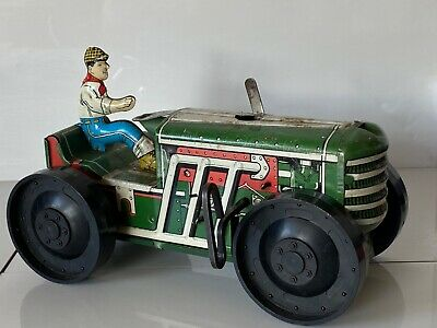 Old Tin Plate Vintage Wind Up Mars Toys Large Tractor And Farmer Motor Car Rare • 37£