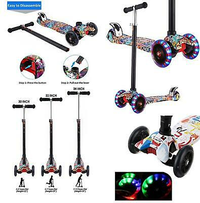 Adjustable 3 Wheel Kid Push Kick Scooter Light Up For Girls And Boys • 26.99£
