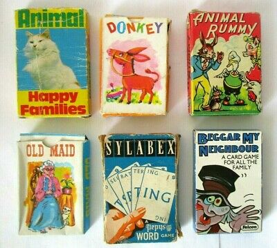 6 X Vintage Card Games - Including Old Maid - Donkey - Rummy - ALL COMPLETE  • 11.75£