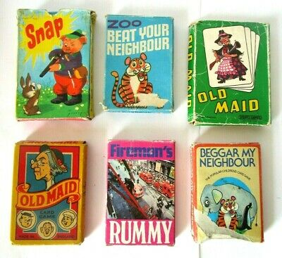 6 X Vintage Card Games - Including Old Maid - Snap - Rummy - ALL COMPLETE • 11.75£