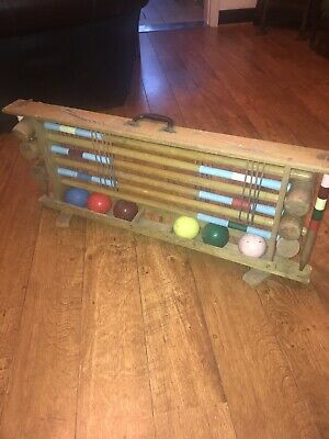 Vintage Croquet Set In Original Carrying Storage Rack For Up To 6 Players • 42£