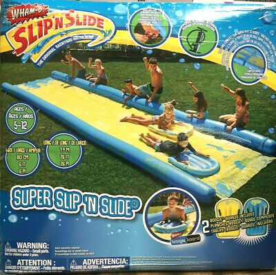 Wham-O Super Slip 'N' Slide Water Slide With Boogie Boards Water Spray 26ft • 149.95£