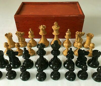 Vintage Chess Set Lead Weighted Staunton Pattern Original Box - No Board K=6.8cm • 145£