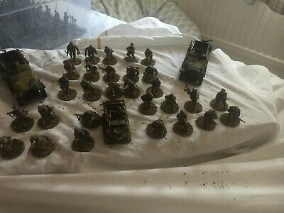 31 Painted 28mm WW2 German Waffen SS Infantry + 2 X 251+ Jeep • 30£