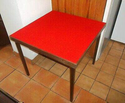 Vintage Folding Card Bridge Poker Games Table Covered In New Red Baize • 40£