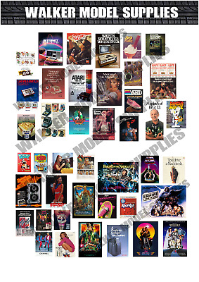 1:18 Scale Pre Cut 80`s Advertisement Poster Stickers . • 5.95£