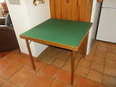 Vintage Folding Card Bridge Poker Games Table Covered In New Green Baize • 45£