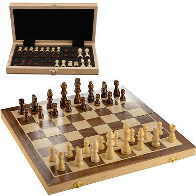 Large Chess Wooden Set Folding Chessboard Magnetic Pieces Wood Board Game • 20.59£