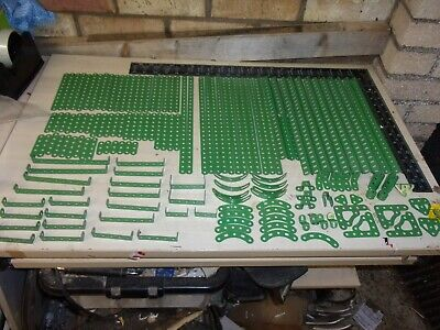 Meccano 1960's Light Green Girders, Strips & Assorted Other Parts - 150+ In VGC • 130£