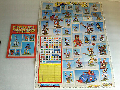 Citadel Miniatures Painting Guide & Colour Poster 1992/4 Warhammer 40K & Fantasy • 12.50£