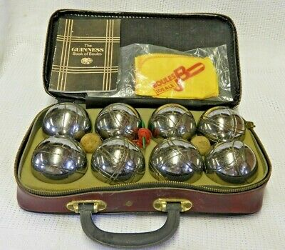 Vintage GUINNESS Branded Steel FRENCH BOULES SET • 45£