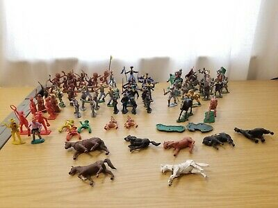 Vintage Lot 75 British Plastic Toy Soldiers Civil War, Knights, Cowboys And More • 11.50£