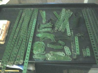 90 Qty JOB LOT VINTAGE MECCANO GREEN , FLAT STRAIGHTS, ANGLED & SHAPED PEICES • 14.50£