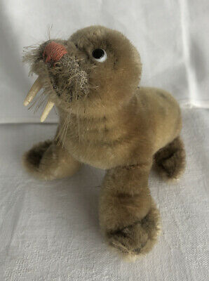VINTAGE MOHAIR STEIFF TOY WALRUS With BUTTON ON FOOT • 45£