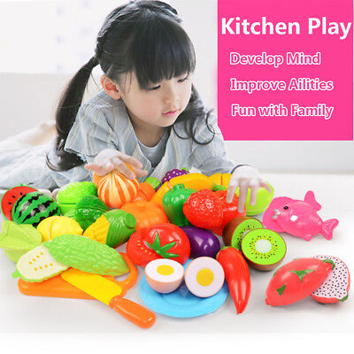 24Pcs Fruits Vegetable Food Toy Child Kids Kitchen Role Play Cutting Cut Toys UK • 9.99£