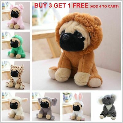 Cute 8  Pug Dog In 7 Costumes Cuddly Soft Teddy Plush Toy Kid Xmas Gift Pillow • 7.58£