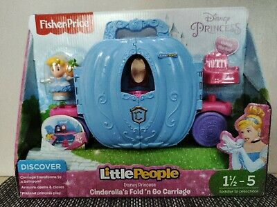 Fisher-Price Disney Princess LittlePeople Cinderella Fold N Go Carriage NEW • 15£