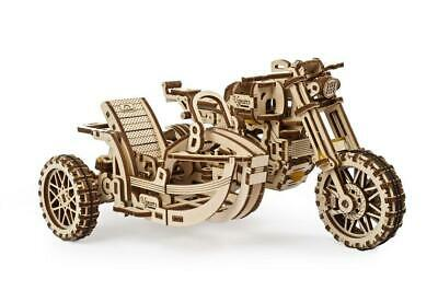 UGEARS Mechanical Wooden Model Kit. Scrambler UGR-10 Motor Bike With Sidecar • 24.99£