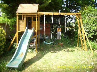 Large Wooden Climbing Frame 💕Swing, Climbing Wall, Monkey Bars, Slide,  House,  • 350£