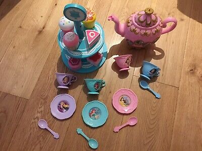 Disney Princess Tea Set With Argos Wooden Cake Stand • 10£