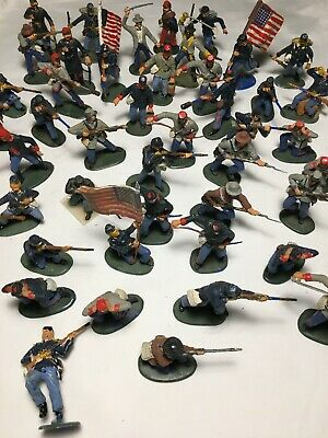 Lot Of 40 Vintage Painted Plastic US Civil War Soldiers • 30£