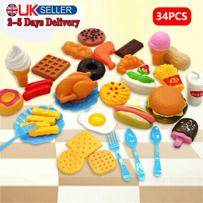34PCS Kids Toy Pretend Role Play Kitchen Pizza Fruit Vegetable Food Cutting Set • 7.59£