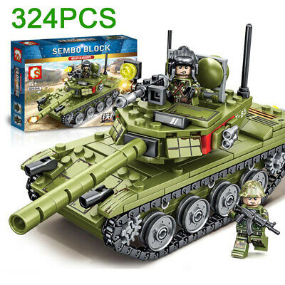 Military Technic Army Tank Truck Building Blocks Kids Toys Set Soldiers Bricks  • 14.87£