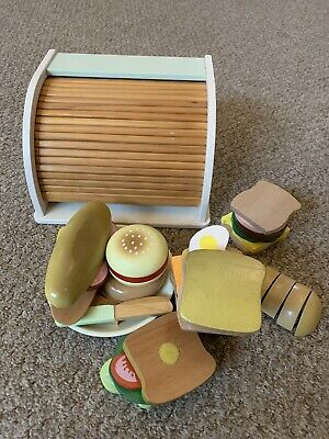 Toy Wooden Bread Bin & Wooden Sandwich Accesories • 7.50£