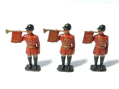 3 Vintage Lead Solider Toys Royal Trumpets / Horns PLAY WORN #2 • 12£