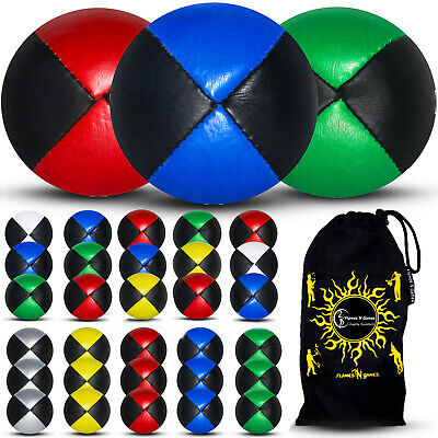 3x Pro Thud Juggling Balls (LEATHER) Professional Juggling Balls Set Of 3 + Bag • 12.80£