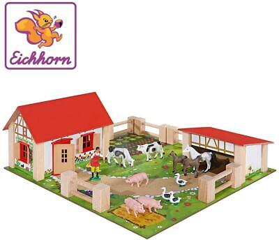 Farm Yard Wooden Kids Toddler Toy Play Set With Figures Buildings Animals Fences • 35.78£