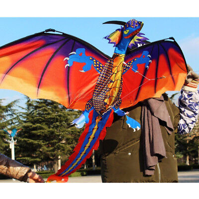 3D Dragon Kite Single Line With Tail Family Outdoor Sports Toy Children Kids UK • 12.59£