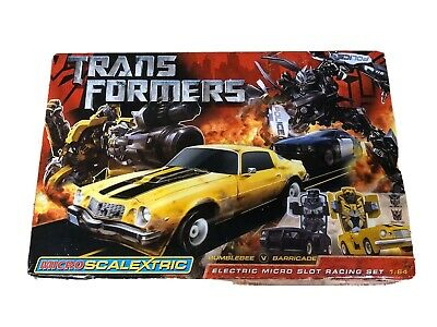 Scalextric Micro Transformers Slot Racing Set BUMBLEBEE V BARRICADE **TESTED** • 35£
