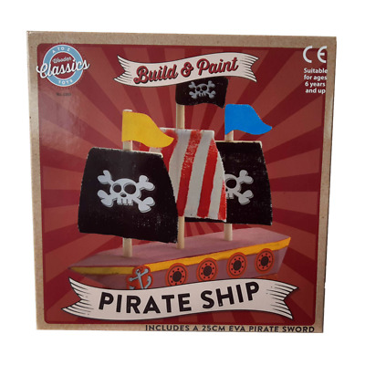 Build & Paint - Myo Wooden Pirate Ship Playset With Accessories • 10.89£