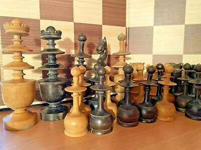 Antique Original Turned Wood French Regence Chess Pieces Set Choose Piece • 14.99£