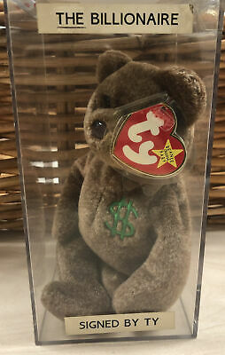 Ty Beanie Baby Babies Billionaire Bear MWMT Signed By Ty Warner Authentic • 25£