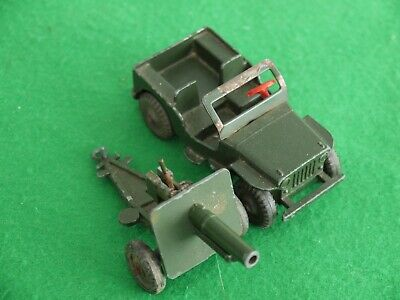 X2 Vintage Dcmt Lone Star Diecast Army Vehicles Jeep & Artillery Cannon Gun     • 1.99£