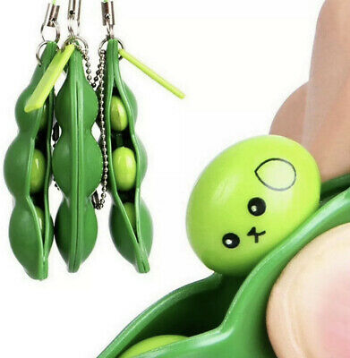 Soy Bean Pea Pod Fidget Stress Toy Keyring - NEW Without Packaging • 2.99£