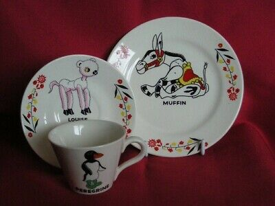 MUFFIN THE MULE CUP, SAUCER, AND PLATE NURSERY SET, Circa 1950. • 14.50£