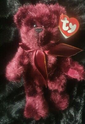 Ty Beanies Bear - Attic Treasures Beargundy With Tag- Retired • 5£