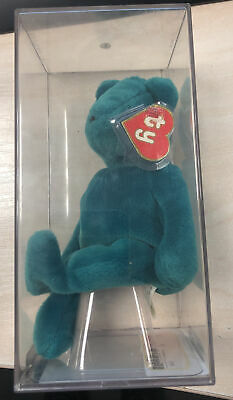 TY BEANIE  RARE  TEDDY - OLD FACE TEAL 1st GEN TAG & TUSH • 50£