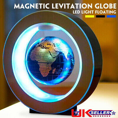 O Shape Magnetic Levitation Globe LED Light Anti Gravity Floating World Map Lamp • 24.64£
