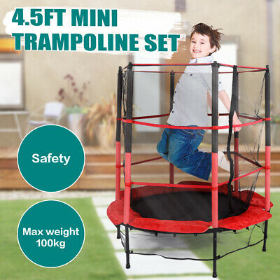 4.5FT Mini Trampoline Set Red Rebounder With Enclosure Safety Net In/Outdoor Toy • 65.99£