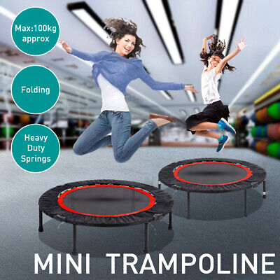 40'' Mini Fitness/Exercise Trampoline– Black Foldable Rebounder Without Handrail • 46.99£