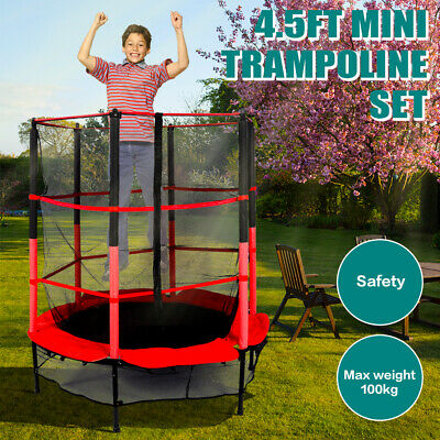 4.5FT Mini Trampoline Set With Enclosure Safety Net Outdoor Indoor Kids Toy Play • 65.99£