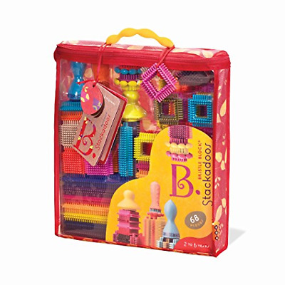B Toys - Bristle Blocks Stackadoos � 68 Toy Blocks In A Storage Pouch � BPA Free • 25.93£