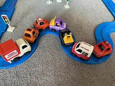 Vintage Tomy 1991 Fun Run World, Blue Road Track With Cars • 8£
